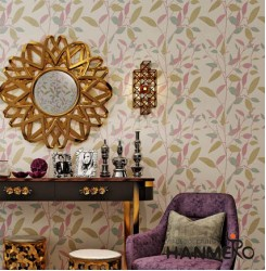 HANMERO Leaf Printing Modern Removable Non Woven Wallpaper