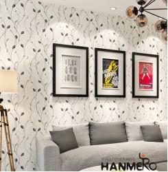 HANMERO Vines Pattern Relief Vinyl Wallpaper Rolls Black & Gray