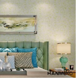 HANMERO Vines Pattern Relief Vinyl Wallpaper Rolls Green & Silver