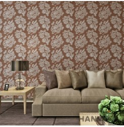 HANMERO Modern Style Embossing PVC Wallpaper Brown Home Decor
