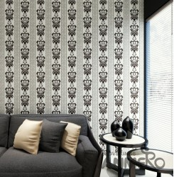 HANMERO European White And Black Embossed Vinyl Wall Paper Murals 0.53*10M/roll ...