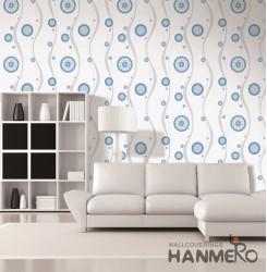 HANMERO Modern Blue Embossed Vinyl Wall Paper Murals 0.53*10M/roll Home Decor