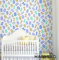 HANMERO Kids Cartoon Number Printed Non woven Wallpaper For Baby Interior Room