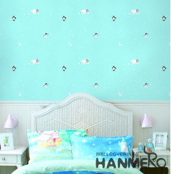HANMERO Kids Cartoon Blue Printed Non woven Wallpaper For Baby Interior Room
