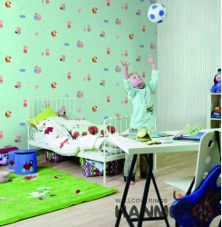 HANMERO Kids Cartoon Light Green Printed Non woven Wallpaper For Baby Interior R...