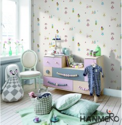HANMERO Kids Cartoon White Printed Non woven Wallpaper For Baby Interior Room