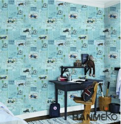 HANMERO Kids Cartoon Blue And Red Printed Non woven Wallpaper For Baby Interior ...