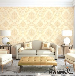 HANMERO Wall Decoration European PVC Foam Floral Yellow Room Interior Wallpaper