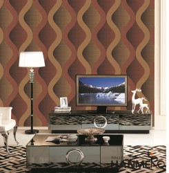 HANMERO 3D Modern Embossing PVC Wallpaper 20.86*393inches Red Home Decor