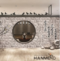 HANMERO 3D Retro Embossing PVC Wallpaper 20.86*393inches Gray Home Decor