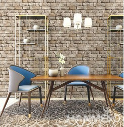 HANMERO 3D Retro Embossing PVC Wallpaper 20.86*393inches Brown Home Decor