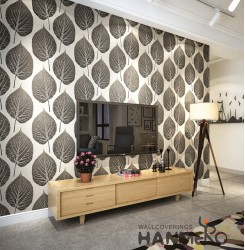 HANMERO 3D Natural Embossing PVC Wallpaper 20.86*393inches Black Home Decor