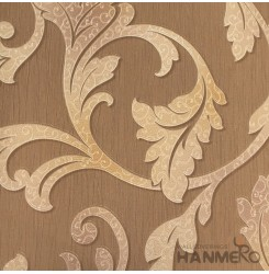 HANMERO European Deep Embossed PVC Brown Floral Wallpaper 580g 0.53*10M/Roll