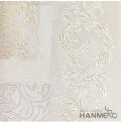 HANMERO European Deep Embossed PVC Cream Floral Wallpaper 580g 0.53 0M Roll