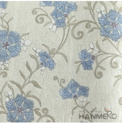 HANMERO Pastoral Deep Embossed PVC Blue Floral Wallpaper 580g 0.53*10M/Roll