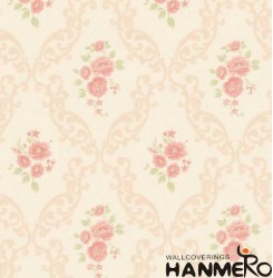 HANMERO Embossed Pastoral Floral Red PVC Wallpaper For Home Interior Decoration