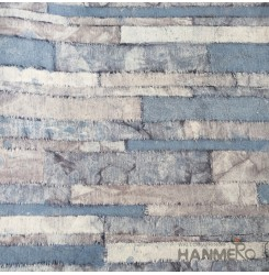 HANMERO Modern Brick Blue PVC Inhibit Foaming Wallpaper Decoration For Wall