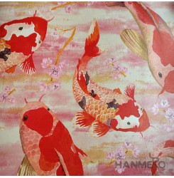 HANMERO Chinese Style Fish Red PVC Inhibit Foaming Wallpaper Decoration For Wall