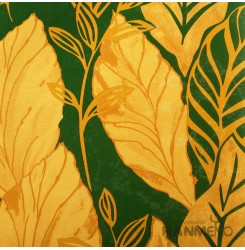 HANMERO Modern Leaf Green And Gold PVC Inhibit Foaming Wallpaper Decoration For...