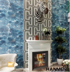 HANMERO Modern Blue Printed PVC Waterproof MCM Wallpaper 0.686*10M/roll Home Dé...