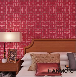 HANMERO Modern Red Geometric PVC Wallpaper For Home Decoration