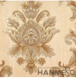 Hanmero Home Decoration Gold Floral European Vinyl Embossed Wallpaper 0.53*10M/R...