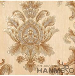 Hanmero Home Decoration Gold Floral European Vinyl Embossed Wallpaper 0.53*10M/R...