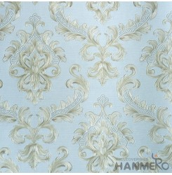 HANMERO European Vinyl Embossed Floral Blue Wallpaper For Bedding Living Room