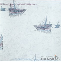 HANMERO European Vinyl Embossed Boat Blue Wallpaper For Bedding Living Room