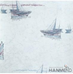 HANMERO European Vinyl Embossed Boat Blue Wallpaper For Bedding Living Room