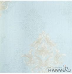 HANMERO European Vinyl Embossed Floral Blue Wallpaper For Bedding Living Room