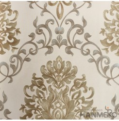 HANMERO European Vinyl Embossed Floral Brown Wallpaper For Bedding Living Room