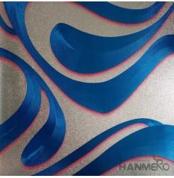 HANMERO PVC Modern Geometric Curve Blue Metallic Wallpaper For Interior Wall Dec...