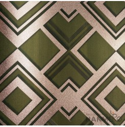 HANMERO PVC Modern Geometric 3D Green Metallic Wallpaper For Interior Wall Decor