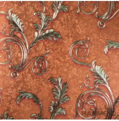 HANMERO PVC European Leaf Orange Metallic Wallpaper For Interior Wall Decor