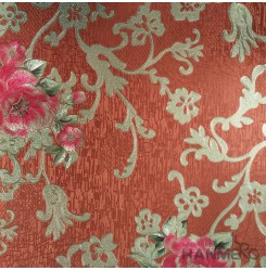 HANMERO PVC Classic Floral Orange Metallic Wallpaper For Interior Wall Decor