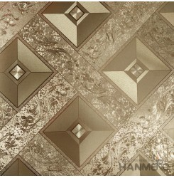 HANMERO PVC Modern Geometric Floral Brown Metallic Wallpaper For Interior Wall D...