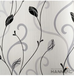 HANMERO Modern Embossed Black Vinyl Wallpaper With Leaf For Interior Wall