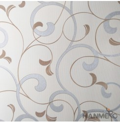 HANMERO Modern Embossed Silver Vinyl Wallpaper With Leaf For Interior Wall