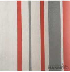 HANMERO Modern Embossed Red And Grey Vinyl Wallpaper With Stripes For Interior W...