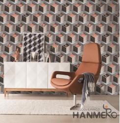 Hanmero Modern 3D Geometric 3D  Vermilion Embossed PVC Wallpaper 0.53*10M/roll I...
