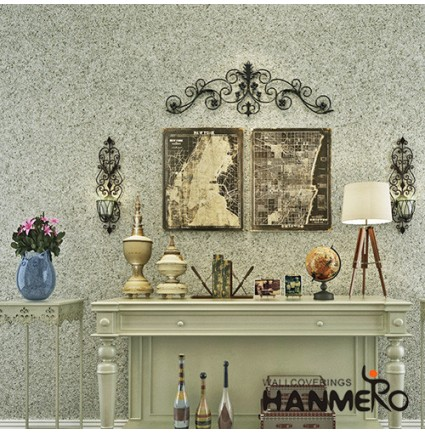 HANMERO Manufacture Wall Decoration Living Room Bathroom Plant Fiber Particle Wallpaper On Sale with Good Quality