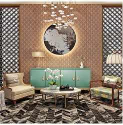 HANMERO Hot selling Room Decor  Plant Fiber Particle Walllpaper in Modern Simple...