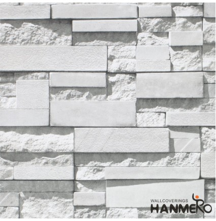 "HANMERO Modern Faux Brick Stone Textured Wallpaper Roll 3D Gray Rock Brick Blocks Home Room Decoration 20.86"" x 393"""