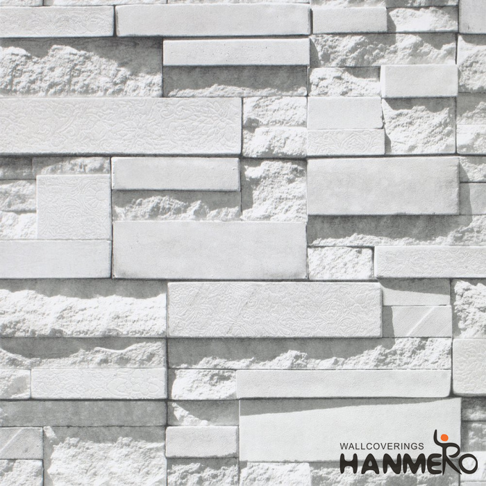 HANMERO Modern Faux Brick Stone Textured Wallpaper Roll 3D Gray Rock Blocks Home Room Decoration
