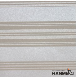 Hanmero 20.86 Inches By 393.7 Inches Classic Light-colored Narrow Stripe Non Woven Living Wall Paper Champagne