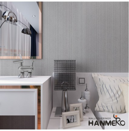 HANMERO 10m Flocking Contemporary Simple Design Vertical Narrow Stripes Non Woven Wallpaper Rolls Solid Color for Bathroom Silver Gray
