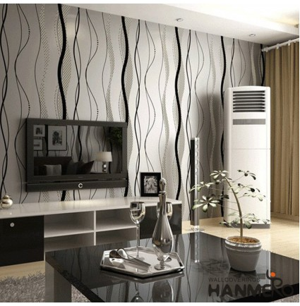 HANMERO High-grade Modern Microfiber Non-woven Flocking Black&Gray Stripes and Curves Wallpaper Murals Rolls for Living Room/Bedroom/TV Backdrop Home Decor 0.53m(20.86'') x 10m(393.7'')