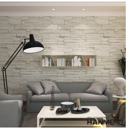HANMERO Super Large Retro Imitation Grey Brick Stone Block Textured Vinyl Wall Paper Long Murals Rolls Living/Bedroom/TV Backdrop Home Decor 20.8' x 393.7'