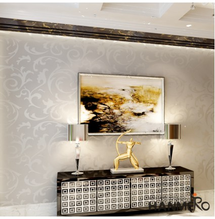 HANMERO High-grade Flocking Vinyl Victorian Embossed Wallpaper Murals Roll Silver Gray 0.53m x 10m Home Decor